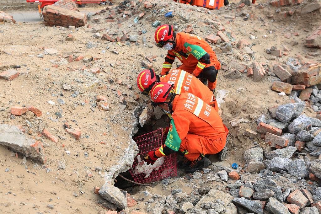 內蒙古通遼消防舉行72小時地震拉動演練